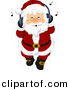 Vector Clipart of a Jolly Cartoon Santa Claus Listing to Christmas Music with His Headphones by BNP Design Studio