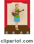 Vector Clipart of a Lady Playing a Guitar on a Stage by Mheld