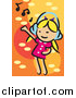 Vector Clipart of a Little White Blond Girl Dancing and Listening to Music by Mayawizard101