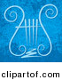 Vector Clipart of a Lyre Symbol over Grunge Blue Background by Any Vector