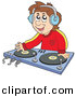 Vector Clipart of a Male Cartoon Dj Wearing Headphones and Mixing Records by Visekart