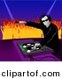 Vector Clipart of a Male DJ Playing Music to Dancing Crowd of Young People by Dero