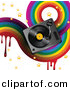 Vector Clipart of a Music Background with Dripping Rainbow, Stars and a Turntable by Elaineitalia