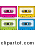 Vector Clipart of a Neon Colored Audio Cassette Tapes - Pink, Yellow, Green, and Blue - Digital Collage by Any Vector