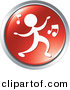 Vector Clipart of a Person Dancing to Music - Red Website Button Icon by Alexia Lougiaki
