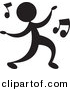 Vector Clipart of a Person Dancing with Music Notes - Silhouette by Alexia Lougiaki
