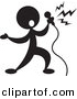 Vector Clipart of a Person Singin into Microphone - Silhouette by Alexia Lougiaki