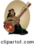 Vector Clipart of a Pretty Indian Lady Playing a Sitar Instrument by R Formidable