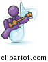 Vector Clipart of a Purple Man Sitting on a Music Note and Playing a Guitar by Leo Blanchette