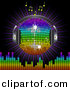 Vector Clipart of a Rainbow Disco Ball Globe with Headphones with Music Notes, a Burst and a Equalizer Bars, on Black by Elaine Barker