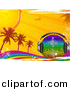 Vector Clipart of a Rainbow Disco Ball with Headphones on a Grunge Rainbow with Palm Trees, Sunshine by Elaine Barker