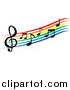 Vector Clipart of a Rainbow Staff and Music Notes by Vector Tradition SM