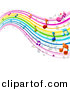 Vector Clipart of a Rainbow Waves with Music Notes - Background DesignRainbow Waves with Music Notes - Background Design by BNP Design Studio