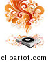 Vector Clipart of a Record Album Player with Vines, Red and Orange Waves of Sound and Circles by OnFocusMedia