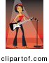 Vector Clipart of a Rocker Girl Playing Electric Guitar on Stage Under Spotlight with Microphone by Amanda Kate