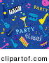 Vector Clipart of a Seamless Blue Music Themed Party Background by BNP Design Studio