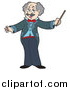 Vector Clipart of a Senior Music Conductor Holding a Baton by Visekart