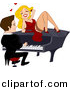 Vector Clipart of a Sexy Cartoon Girl Flirting with Guy Playing Piano by BNP Design Studio