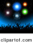 Vector Clipart of a Silhouetted Crowd Cheering Under Fireworks by KJ Pargeter