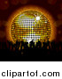 Vector Clipart of a Silhouetted Crowd of Dancers and a 3d Disco Ball by Elaineitalia