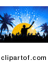Vector Clipart of a Silhouetted Crowd on Dance Floor Below Male Dj Mixing Music by Elaineitalia