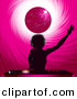 Vector Clipart of a Silhouetted Dj Girl Mixing Records Under a Pink Disco Ball by Elaine Barker