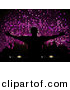 Vector Clipart of a Silhouetted Dj in Front of Purple Mosaic Background by Elaineitalia