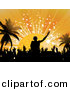 Vector Clipart of a Silhouetted DJ Mixing Music to a Crowd of People Dancing by Elaineitalia