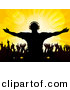 Vector Clipart of a Silhouetted Male Dj at Party with Dancing People over Yellow Background by Elaineitalia