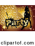 Vector Clipart of a Silhouetted Woman Dancing by Golden Disco Balls and Party Text by MilsiArt