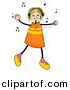 Vector Clipart of a Stick Girl Listening to Music and Dancing by BNP Design Studio
