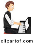 Vector Clipart of a Teen Cartoon Boy Playing Piano by BNP Design Studio