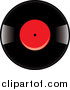 Vector Clipart of a Vinyl Record Album with a Red Label by Pams Clipart