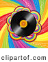 Vector Clipart of a Vinyl Record over a Spiraling Rainbow BackgroundVinyl Record over a Spiraling Rainbow Background by Elaineitalia