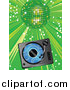 Vector Clipart of a Vinyl Record Playing in a Record Player over a Green Background Under a Shiny Disco Ball at a Party by Elaineitalia