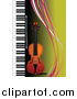Vector Clipart of a Violin and a Piano on Green with Colorful Waves by