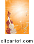 Vector Clipart of a Violin and Viola or Cello Standing Upright on an Orange Grunge Background by Eugene