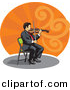 Vector Clipart of a Violinist Sitting on a Chair While Playing a Violin by David Rey