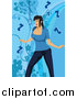 Vector Clipart of a White Musical Woman Singing over Blue by Mayawizard101