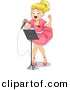 Vector Clipart of a Young Cartoon Girl Singing a Song at Talent Show by BNP Design Studio