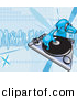 Vector Clipart of a Young Male DJ Mixing Records on a Turntable by Geo Images