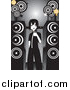 Vector Clipart of an Emo Girl Singing Karaoke by Large Speakers by Mayawizard101