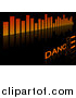 Vector Clipart of an Equalizer and Dance Background on Black by Dero