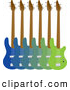 Vector Clipart of Blue and Green Base Guitars by Maria Bell