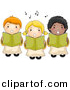 Vector Clipart of Cartoon Choir Kids Singing by BNP Design Studio