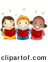Vector Clipart of Cartoon Kids Singing Christmas Carols by BNP Design Studio