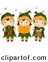 Vector Clipart of Cartoon Kids Singing Christmas Music While Dressed like Elves by BNP Design Studio
