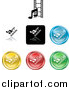 Vector Clipart of Colorful Media Music and Film Icon Buttons by AtStockIllustration