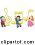 Vector Clipart of Diverse Cartoon Kids with Large Music Notes by BNP Design Studio