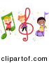 Vector Clipart of Diverse Cartoon Students with Music Notes by BNP Design Studio